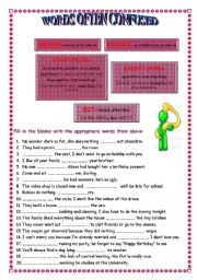 English Worksheets: Words often confused  (1)