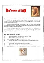 English Worksheet: Tombs of Egypt