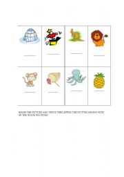English Worksheets: Beginning letter practice