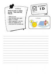 English Worksheets: Writing ( A dream ! )
