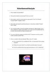 advertising analysis - oral/written activity