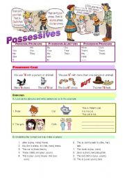 English Worksheets: Possessives - rules and exercises