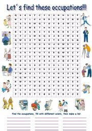 English Worksheet: Find the Occupations  (word search)
