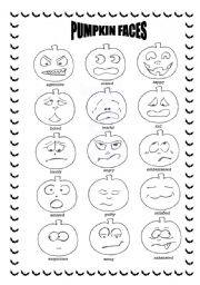 English Worksheets: Halloween pumpkin faces