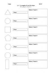 English worksheets: 2D shapes