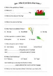 English Worksheet: Quiz Wales and Patron Saints - Cultural aspects