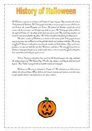 Advanced ESL worksheets: History of Halloween