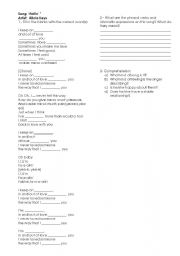 English Worksheets: Song -