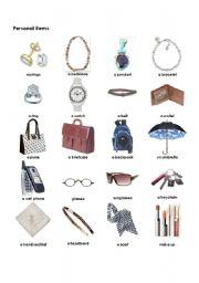 English Worksheet: Personal Items
