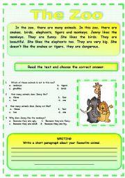 English Worksheet: READING : The Zoo