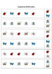 English Worksheets: Complete the INSECT pattern