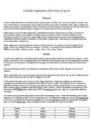 English Worksheet: Parts of speech a concise and practical explanation, with examples