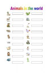 English Worksheets: Animals writed