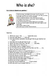 English Worksheets: Who is she?