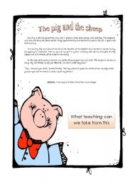 English Worksheets: The pig and the sheep