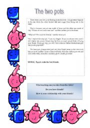 English Worksheets: The two pots