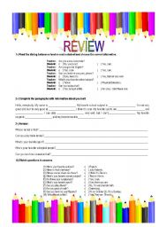 English Worksheets: Review - verb to be - questions and answers