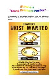 English Worksheet: Most Wanted Poster