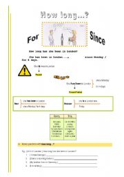 English Worksheet: How long...? (for and since)