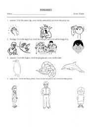 English Worksheet: actions, feelings, animals, adjectives
