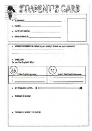 English Worksheets: Student�s card to fill in