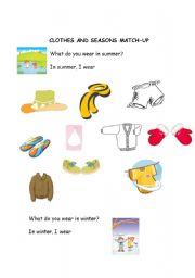 English Worksheet: Clothes and seasons match up