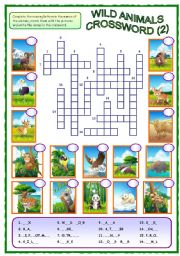 English Worksheet: Wild Animals Crossword (2 of 2)