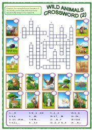 English Worksheets: Wild Animals Crossword (2 of 2)