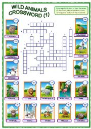English Worksheet: Wild Animals Crossword (1 of 2)
