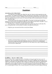English worksheets: Buddhism Story and The Four Noble Truths