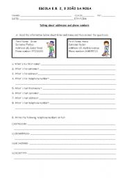 english worksheet personal information addresses and phone numbers