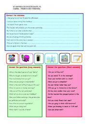 English Worksheets: Correct mistakes and answer questions
