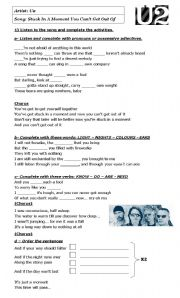 English Worksheets: Stuck in a Moment... - U2