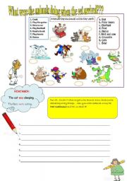 English Worksheets: What were the animals doing when the vet arrived?