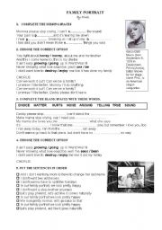 English Worksheet: PINK - FAMILY PORTRAIT song / video worksheet