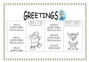English Worksheets: Greetings Chants HELLO AND BYE BYE