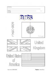 English Worksheet: Portugal, UK and USA flags