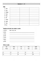 English worksheet: Numbers 1 to 10
