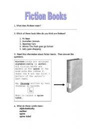 English Worksheets: Fiction Books