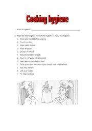 English Worksheet: Cooking hygiene