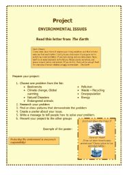English Worksheet: PROJECT _ ENVIRONMENT