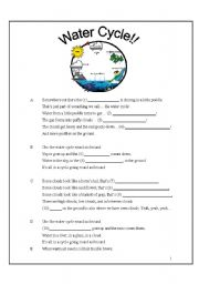 English Worksheet: Water Cycle Song (with fill in the blanks)