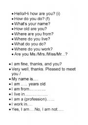 English Worksheets: introductions first lesson