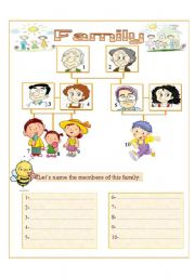 English Worksheet: to name members of the family