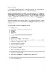 English Worksheets: Drinking and youth