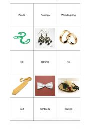 English Worksheet: jewelery & accesoriess memo game part1