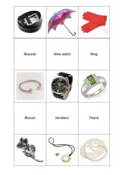English Worksheet: jewelery & accesoriess memo game part2