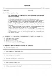 English Worksheets: text/ reading comprehension and grammar exercises