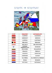 English Worksheet: EUROPE