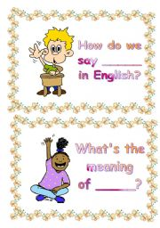 English Worksheet: classroom language flashcards (set 3)